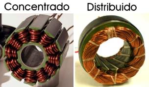 Figura 4: A la izquierda un motor BLDC con devanado concentrado. A la derecha un PMSM con devanado distribuido.
