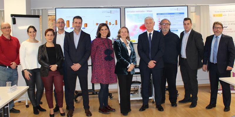 Recibimos a Dª Nadia Calviño, Ministra de Economía y Empresa en las instalaciones de la Oficina de Transformación Digital de Cataluña.